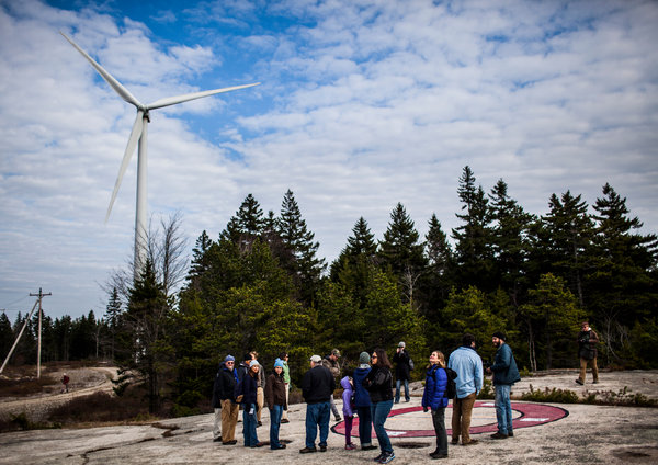 IGRC participants tour the Fox Islands Wind project. Photo credit: Craig Dilger, New York Times.